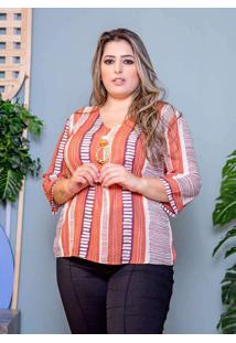 Blusa Estampada Almaria Plus Size Peri Laranja