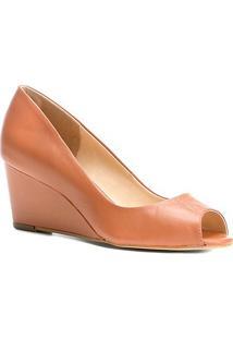 Peep Toe Couro Shoestock Anabela - Feminino