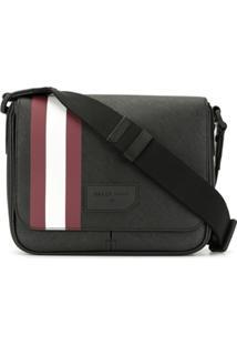 Bally Logo Stripe Messenger Bag - Preto