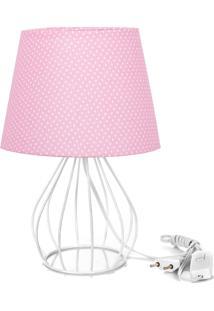 Abajur Cebola Dome Rosa/Bolinha Com Aramado Branco