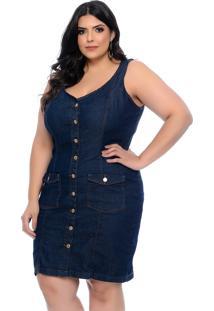 Vestido Jeans Plus Size Cambos Justo Com Botãµes - Azul - Feminino - Dafiti