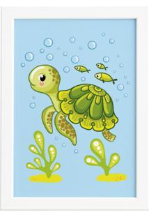 Quadro Infantil Tartaruga Fundo Do Mar Moldura Branca 22X32 - Tricae
