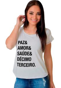 Camiseta Shop225 Paz & Amor Branca - Branco - Feminino - Dafiti