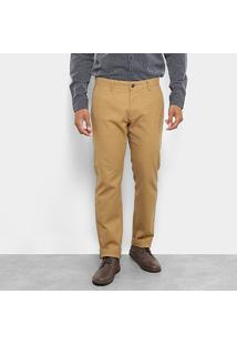 Calça Sarja Jab Chino Stretch Slim Masculina - Masculino-Cáqui