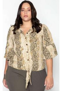 Camisa Almaria Plus Size Leeban Animal Print Bege