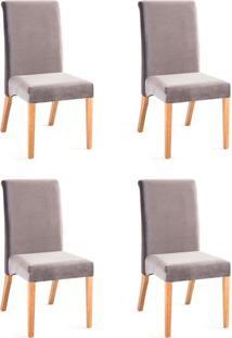 Conjunto Com 4 Cadeiras De Jantar Classic Cinza E Castanho