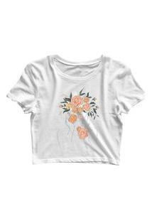 Blusa Blusinha Feminina Cropped Camiseta Mulher Flores Branco