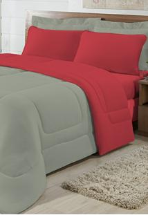 Edredom Solteiro Casa Modelo Dupla Face Malha 100% Algodão 1 Peça - Cáqui/Vermelho