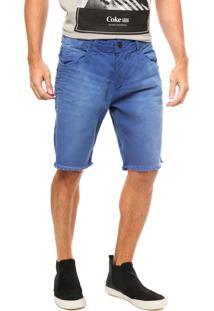 Bermuda Coca-Cola Jeans Amassados Azul