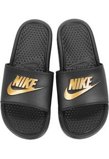 Sandália Nike Benassi Jdi Masculina - Masculino-Preto+Dourado