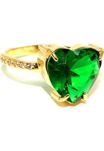 Anel Infine Coração Verde Esmeralda