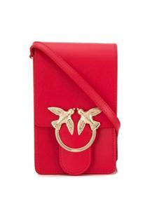Pinko Bolsa Transversal Com Placa De Andorinha - Vermelho