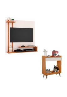Kit Painel Para Tv Smart Plus Off Com Nature E Aparador Retrô Com 2 Gavetas Loretto Nature Com Off