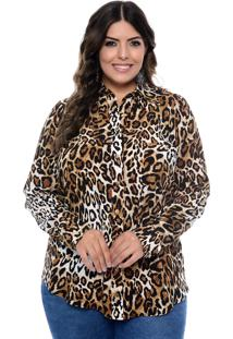 Camisa Forma Rara Plus Size Em Viscose Animal Print Marrom