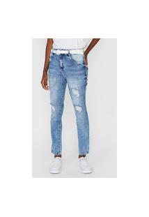 Calça Jeans Biotipo Reta Destroyed Azul