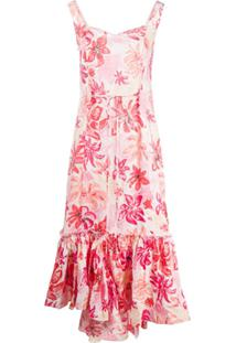 Marni Vestido Decote Coração Com Estampa Foral - Rosa