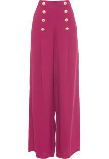 Calça Feminina Pantalona Botões - Vermelho