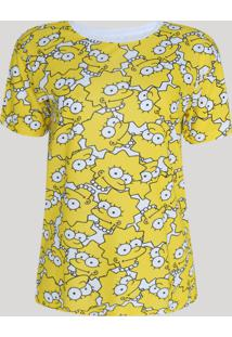Blusa Feminina Os Simpsons Manga Curta Decote Redondo Amarela