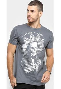 Camiseta Bulldog Fish Caveira Mexicana Masculina - Masculino-Cinza