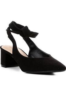 Scarpin Shoestock Salto Baixo Amarração - Feminino-Preto