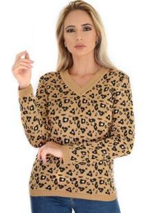 Blusa Livora Tricot Decote V Animal Print Feminina - Feminino-Caramelo+Preto