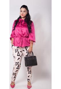 Blusa Social Kapsuli Plus Size Rosa - Rosa - Feminino - Poliã©Ster - Dafiti