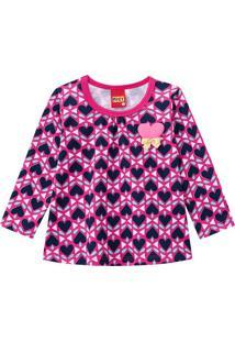Blusa Coraã§Ãµes- Pink & Azul Marinhokyly
