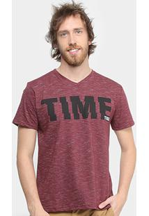 Camiseta Tigs Estampada Gola V Masculina - Masculino-Bordô