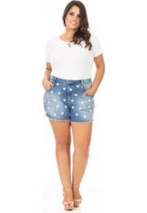 Shorts Jeans Cintura Alta Com Bordado Coração Plus Size Confidencial Extra Feminino - Feminino-Azul