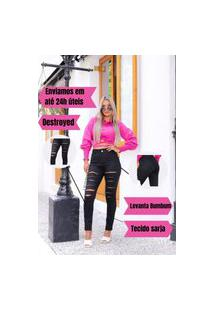 Calça Alleppo Jeans Preta Destroyed Talyta