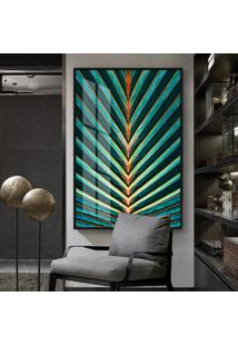 Quadro 150X100Cm Abstrato Palm Vidro Cristal E Moldura Preta Decorativo Interiores - Oppen House