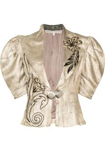 One Vintage Jaqueta Com Bordado Floral - Metálico
