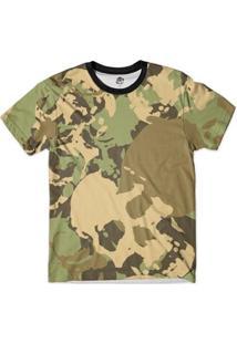 Camiseta Bsc Caveira Camuflada Exercito Full Print Masculina - Masculino-Verde