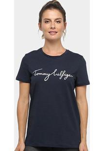 Camiseta Tommy Hilfiger Heritage Crew Neck Grafic Tee Feminino - Feminino-Azul+Marinho