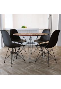 Conjunto De Mesa De Jantar Com 4 Cadeiras Eiffel Iron Preto E Marrom
