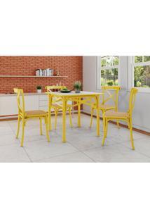 Conjunto De Mesa De Jantar Com 4 Cadeiras E Tampo De Madeira Katrina Amarelo