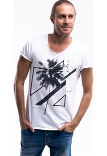 Camiseta Estonada Corte À Fio Joss Palmeira Branco