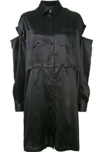 Andrea Ya'Aqov Vestido De Seda Com Detalhe Vazados - Preto