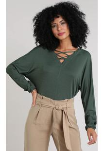 e427fbeec2 ... Blusa Feminina Ampla Com Lace Up Manga Longa Decote V Verde