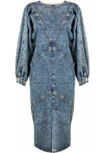 Isabel Marant Vestido Jeans Mangas Longas - Azul