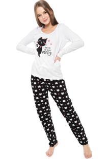 Pijama Malwee Liberta Pretty Branco/Preto