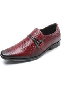Sapato Social Couro Pegada Textura Vermelho