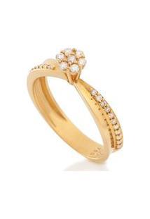 Anel Ouro Amarelo Com 19,3 Pontos De Diamantes