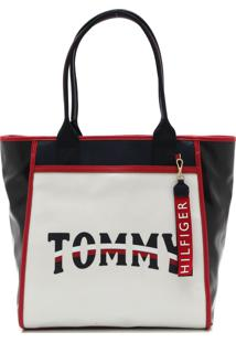 Bolsa Couro Tommy Hilfiger Estampa Preta/Branco/Vermelho