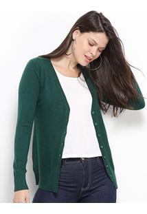 Malha Facinelli Cardigã Básico Feminino - Feminino-Verde