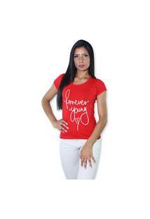 Camiseta Heide Ribeiro Estampado Forever Young Vermelho