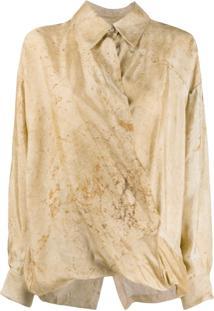 Uma Wang Vintage Motif Draped Blouse - Marrom