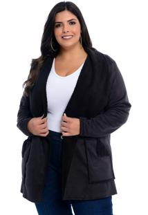 Casaco Plus Size Preto Sheep