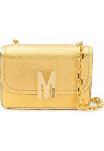 Moschino Bolsa Tiracolo Com Placa De Logo M - Dourado