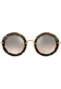 ... Miu Miu Eyewear Embellished Circle Sunglasses - Marrom 6501f73f82